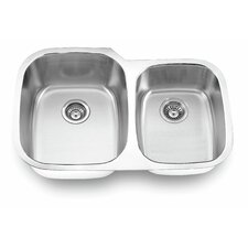 "32.13"" x 20.63"" Undermount Double Bowl Kitchen Sink"