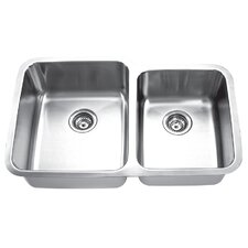 "31.88"" x 20.63"" Undermount Double Bowl Kitchen Sink"