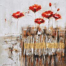 Poppies in the Field Red II Canvas Art