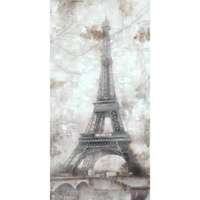 Grey Eiffel Hand Painted Wall Art