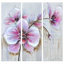 Revealed Artwork Silvery 3 Piece Original Painting on Canvas Set