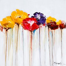 Revealed Artwork Jeweled Poppies II Original Painting on Canvas