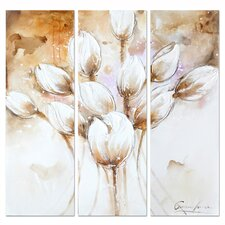 Revealed Artwork Pale Tulips 3 Piece Original Painting on Canvas Set