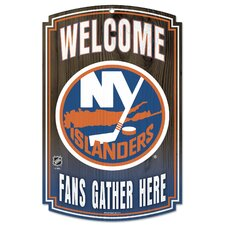"New York Islanders ""Fans Gather Here"" Wood Sign"