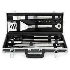 <strong>Mr. Bar-B-Q</strong> Tool Set in Black Aluminum Tire Track Case (Set of 18)