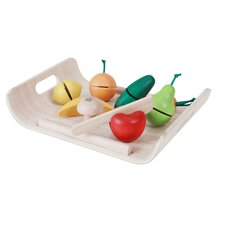 Large Scale 10 Piece Assorted Fruits and Vegetables Play Set