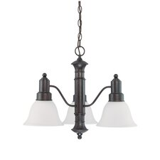 Gotham 3 Light Chandelier with Frosted Glass