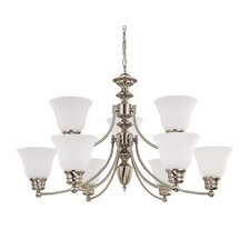 Empire 9 Light Chandelier with Frosted Glass