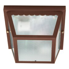 Carport Flush Mount with Texture Frosted Glass in Old Bronze