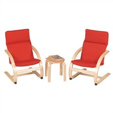 <strong>Guidecraft</strong> Red Rocker 3 Piece Kiddie Chair Set
