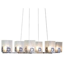 Recycled Polar 6 Light Oblong Chandelier