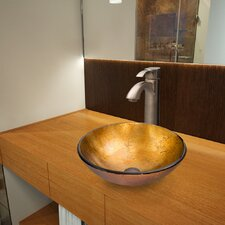 <strong>Vigo</strong> Liquid Gold Glass Vessel Bathroom Sink with Otis Faucet