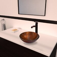 Kenyan Twilight Glass Vessel Bathroom Sink with Seville Faucet