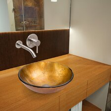 <strong>Vigo</strong> Liquid Gold Glass Vessel Bathroom Sink with Olus Wall Mount Faucet