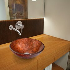 Mahogany Moon Glass Vessel Bathroom Sink with Olus Wall Mount Faucet