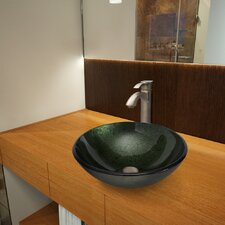 Glass Vessel Bathroom Sink with Otis Faucet