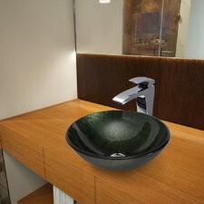 Glass Vessel Bathroom Sink with Blackstonian Faucet
