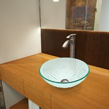 Icicles Glass Vessel Bathroom Sink with Otis Faucet