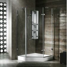 Neo-Angle Door Frameless Frosted Shower Enclosure with Left Handed Door