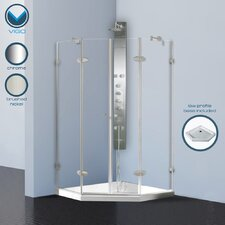 Neo-Angle French Door Shower with Low Profile Base
