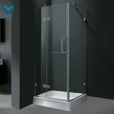 Pivot Door Frameless Shower Enclosure with Base