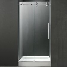 "47.75"" W x 74"" H x 32"" D Clear Sliding Shower Door with Reversible Side Opening"
