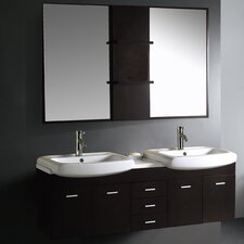 "Contemporary 58.75"" Wall Mounted Double Bathroom Vanity Set"