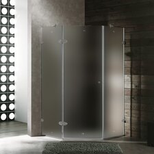<strong>Vigo</strong> Neo-Angle Door Frameless Frosted Shower Enclosure with Right Handed Door