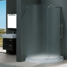 <strong>Vigo</strong> Frameless Round Frosted Sliding Door Shower Enclosure with Right-Sided Door