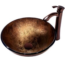 Liquid Copper Glass Bathroom Sink with Faucet