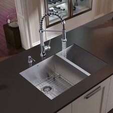 "<strong>Vigo</strong> 29"" x 20"" Double Bowl Undermount Kitchen Sink with Faucet, Two Grids, Two Strainers and Dispenser"