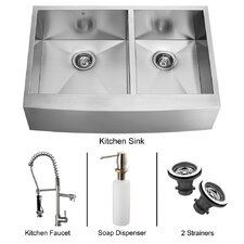 "36"" x 27"" Double Farmhouse Kitchen Sink with Faucet, Two Strainers and Dispenser"