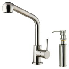 <strong>Vigo</strong> One Handle Single Hole Kitchen Faucet with Soap Dispenser and Pull-Out Spray