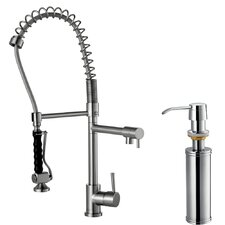 Two Handle Single Hole Pull-Down Spray Bar Faucet with Soap Dispenser
