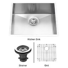 "23"" x 20"" Single Bowl Zero Radius 16 Gauge Kitchen Sink"