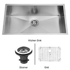 "32"" x 19"" Super Single Bowl Zero Radius 16 Gauge Undermount Kitchen Sink"