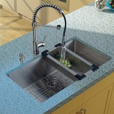"32"" x 19"" Undermount Kitchen Sink with Faucet, Colander, Grid, Strainer and Dispenser"