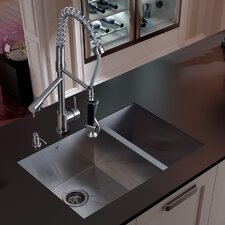 "29"" x 27"" Double Bowl Undermount Kitchen Sink with Faucet, Two Strainers and Dispenser"