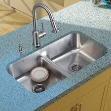 "<strong>Vigo</strong> 32.5"" x 18.25"" Double Bowl Undermount Kitchen Sink with Faucet, Two Strainers and Dispenser"