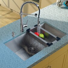 "<strong>Vigo</strong> 32"" x 19"" Undermount Kitchen Sink with Faucet, Colander, Strainer and Dispenser"