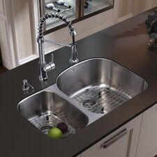 "31.5"" x 20.5"" Double Bowl Undermount Kitchen Sink with Faucet, Two Grids, Two Strainers and Dispenser"