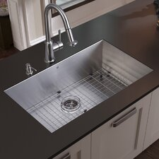 "<strong>Vigo</strong> 32"" x 19"" Undermount Kitchen Sink with Faucet, Grid, Strainer and Dispenser"