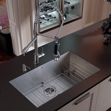 "32"" x 27"" Undermount Kitchen Sink with Faucet, Grid, Strainer and Dispenser"