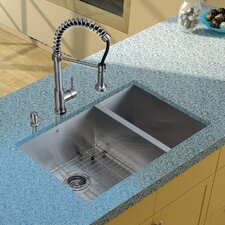 "29"" x 20"" Double Bowl Undermount Kitchen Sink with Faucet, Grid, Two Strainers and Dispenser"