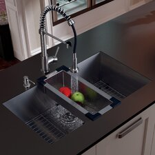"<strong>Vigo</strong> 32"" x 19"" Undermount Kitchen Sink with Faucet, Colander, Grid, Strainer and Dispenser"