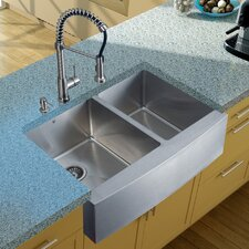 "33"" x 22.25"" Double Farmhouse Kitchen Sink with Faucet, Two Strainers and Dispenser"