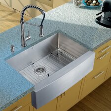 "<strong>Vigo</strong> 33"" x 22.25"" Farmhouse Kitchen Sink with Faucet, Grid, Strainer and Dispenser"