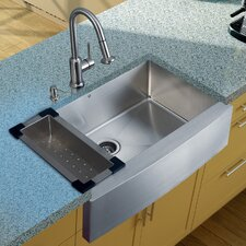 "36"" x 22.25"" Farmhouse Kitchen Sink with Faucet, Colander, Strainer and Dispenser"