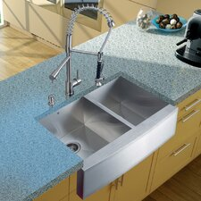 "33"" x 27"" Double Farmhouse Kitchen Sink with Faucet, Two Strainers and Dispenser"