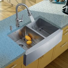 "33"" x 22.25"" Double Farmhouse Kitchen Sink with Faucet, Two Grids, Two Strainers and Dispenser"